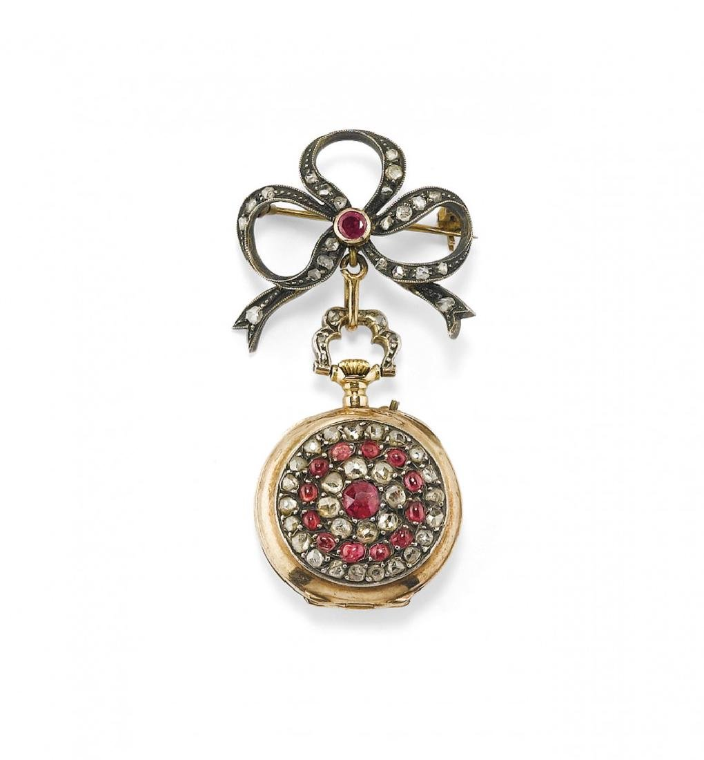 BROOCH WITH GEM-SET CLOCK