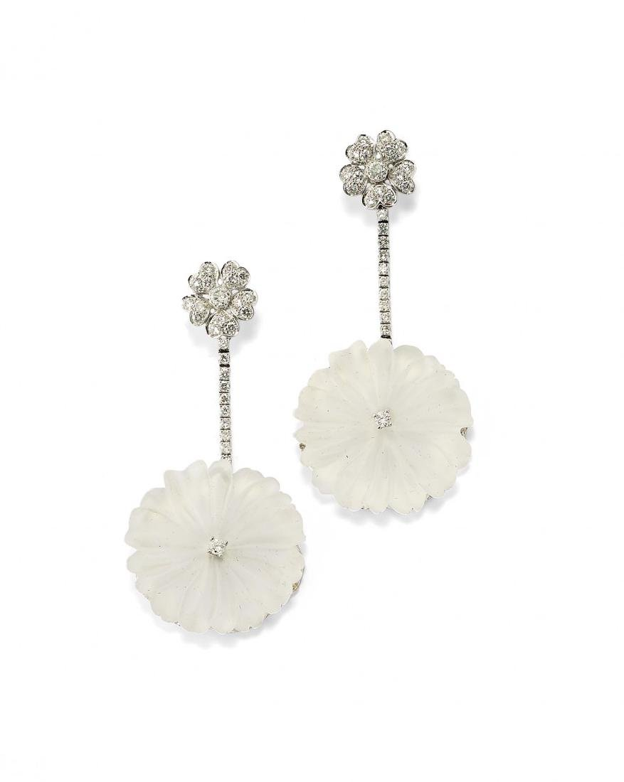 PAIR OF DIAMOND AND ROCK CRYSTAL PENDENT EARRINGS