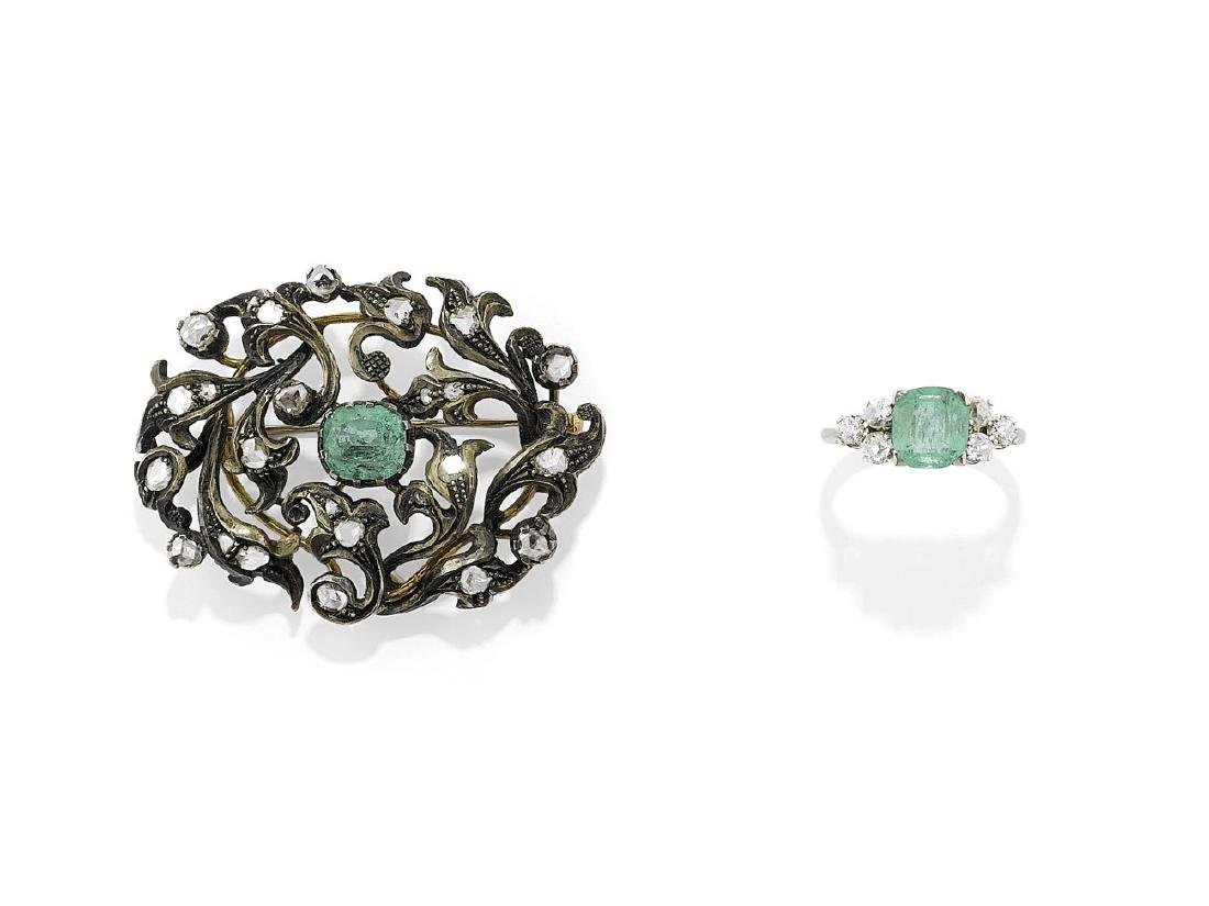DIAMOND AND EMERALD BROOCH AND RING