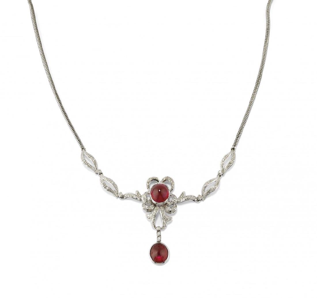 DIAMOND AND SYNTHETIC RUBY NECKLACE