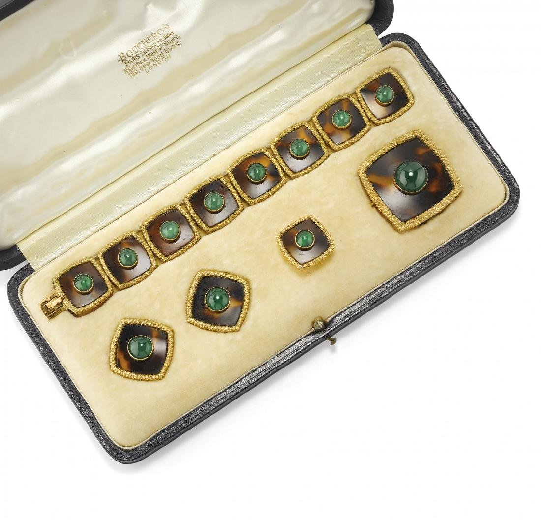 GOLD, TORTOISE AND CHRYSOPRASE PARURE, BOUCHERON
