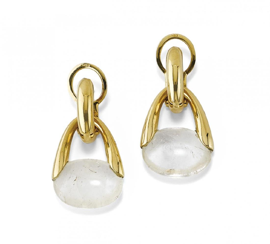 PAIR OF GOLD AND ROCK CRYSTAL EARRINGS, POMELLATO