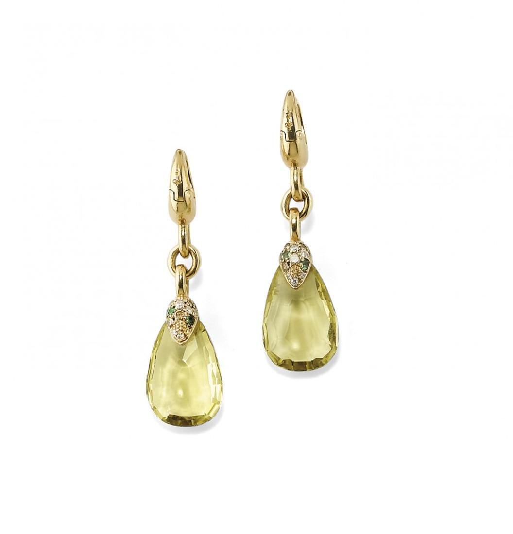PAIR OF GEM-SET AND DIAMOND EARRINGS, POMELLATO