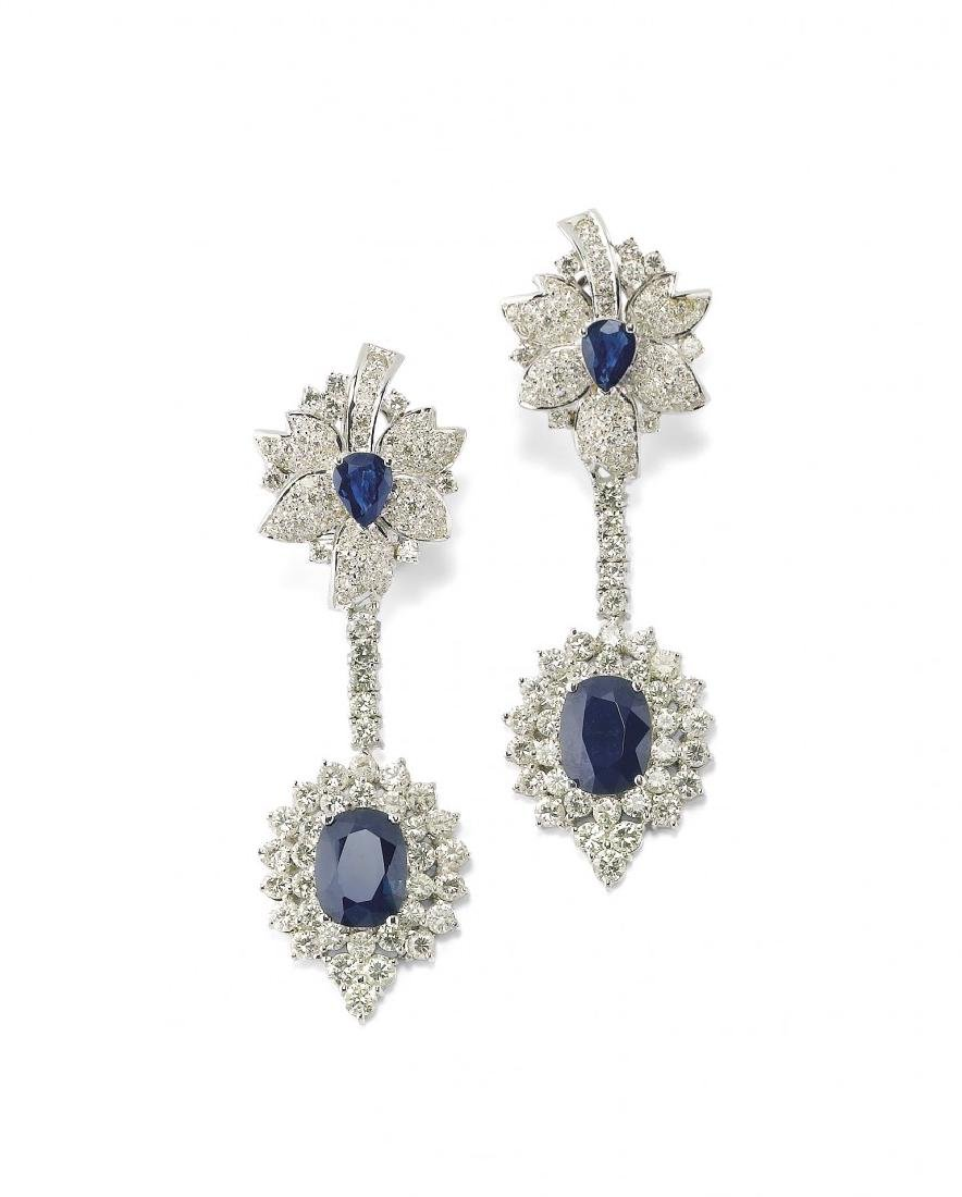 PAIR OF DIAMOND AND BLUE SAPPHIRE PENDENT EARRINGS