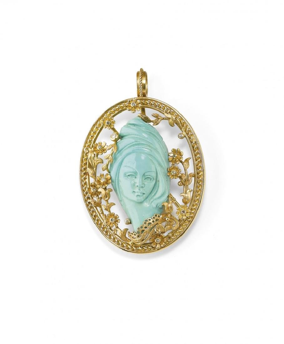 YELLOW GOLD AND TURQUOISE PENDANT/BROOCH