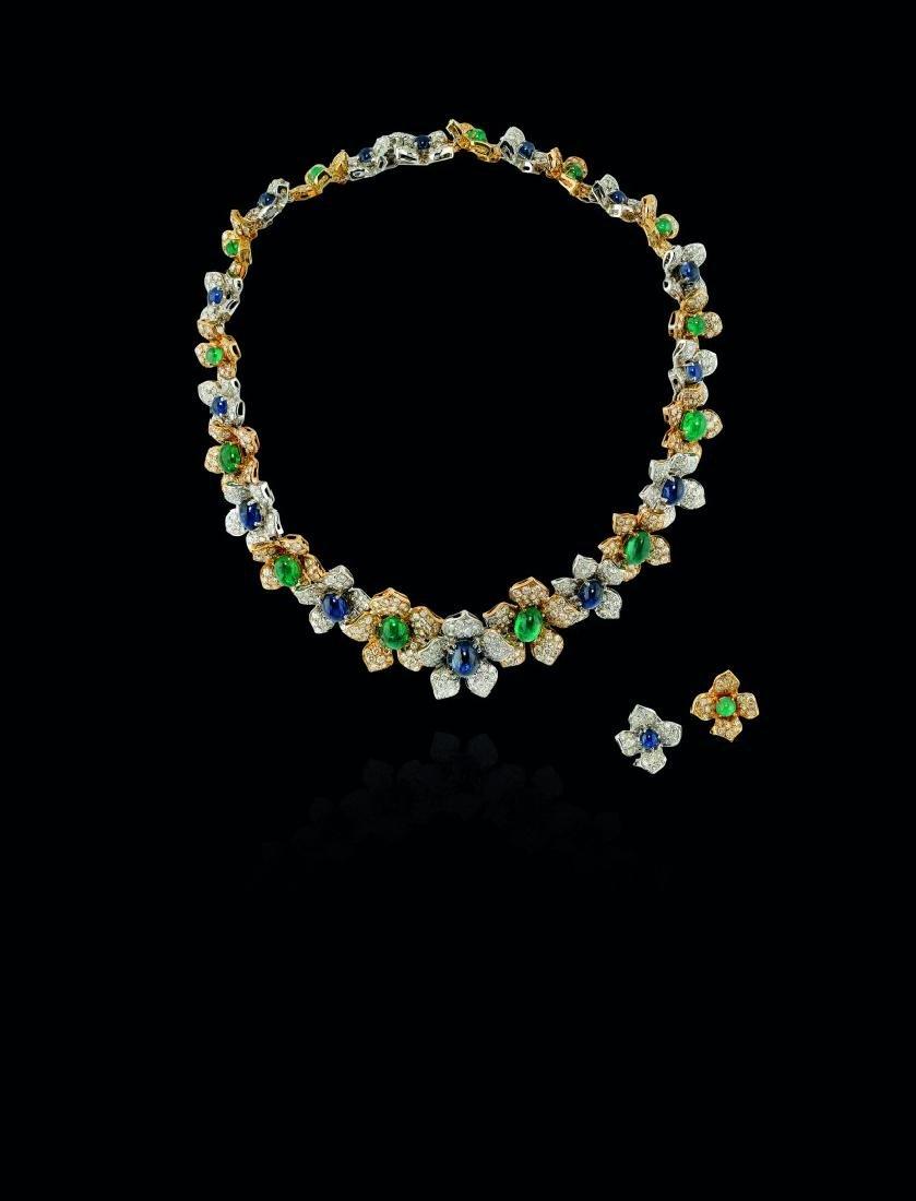 DIAMOND, EMERALD AND BLUE SAPPHIRE DEMI-PARURE