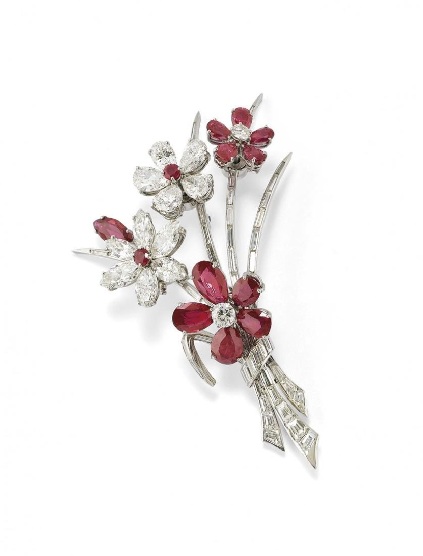 IMPORTANT RUBY AND DIAMOND BROOCH