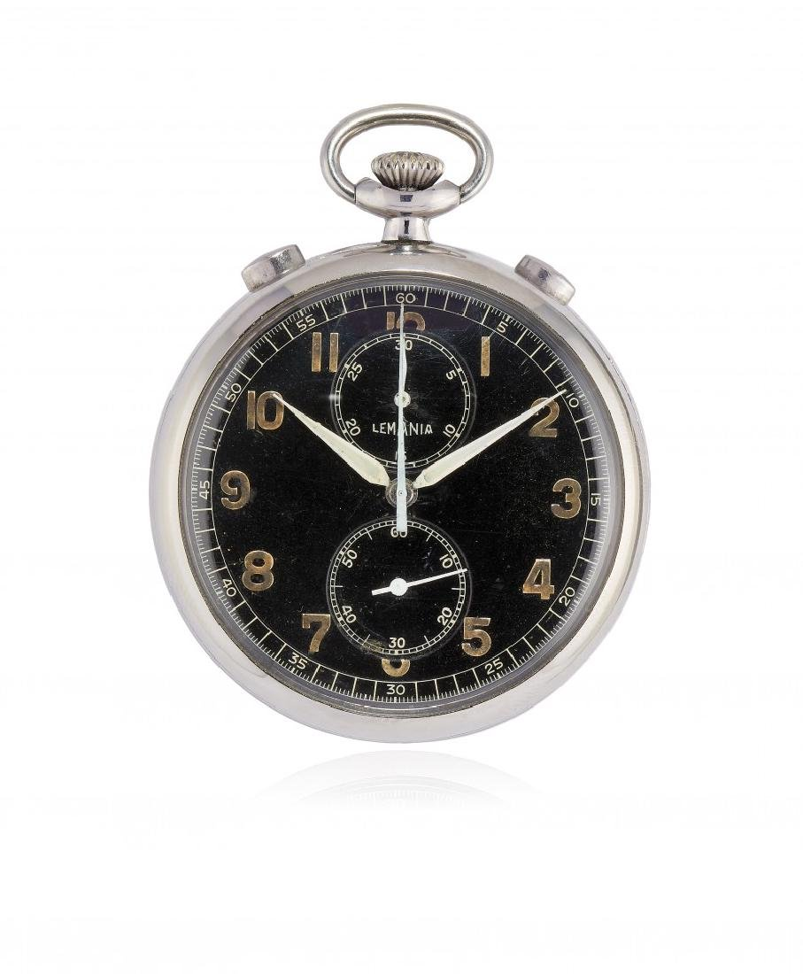 KEY-LESS POCKET WATCH LEMANIA WITH CHRONOGRAPH AND
