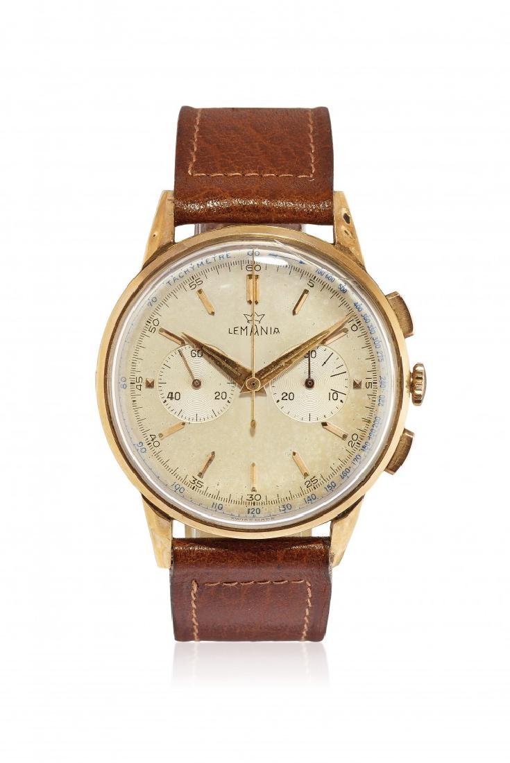 MEN'S GOLD WRISTWATCH LEMANIA WITH CHRONOGRAPH, '50S