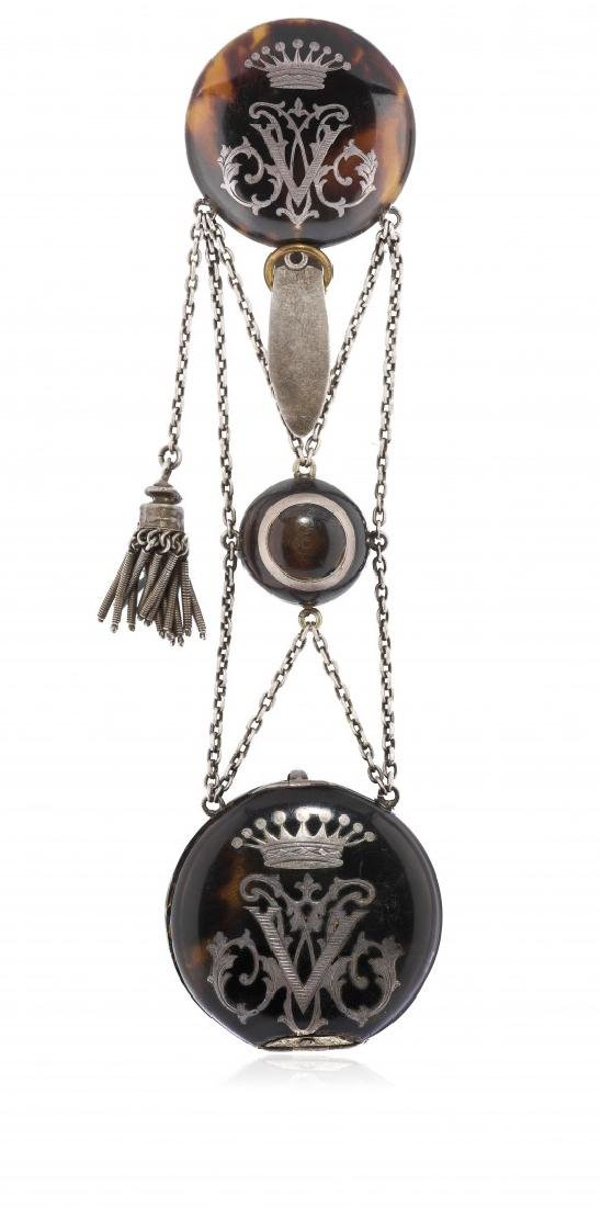 POCKET WATCH WITH FAUX-TORTOISESHELL AND CHÃ'TELAINE,