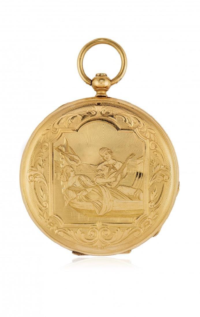 KEY-WINDING GOLD POCKET WATCH, SIGNED JUNOD, 1850 CIRCA