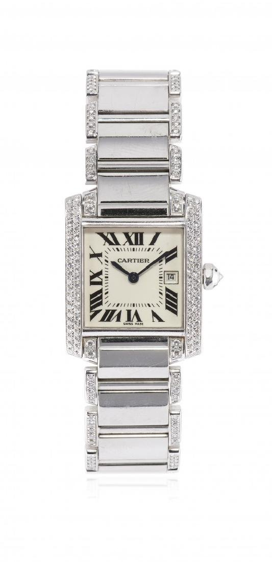 WHITE GOLD AND DIAMONDS MIDSIZE WRISTWATCH CARTIER TANK