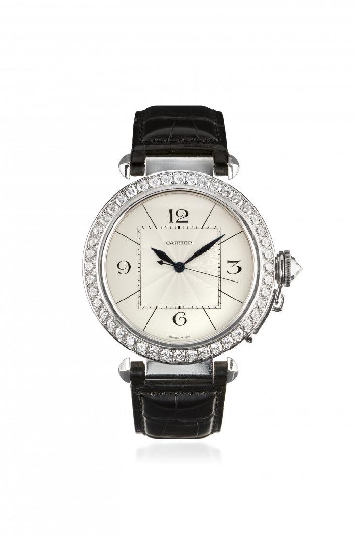 MEN'S WHITE GOLD AND DIAMOND WRISTWATCH CARTIER