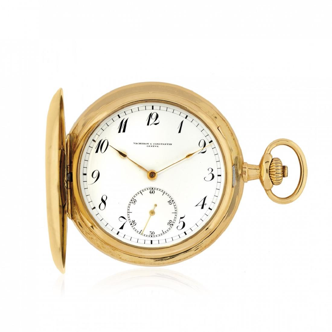 GOLD HUNTER CASE POCKET WATCH SIGNED VACHERON &