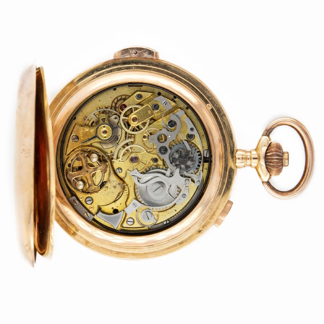 GOLD HUNTER CASE POCKET WATCH WITH CHRONOGRAPH AND - 2