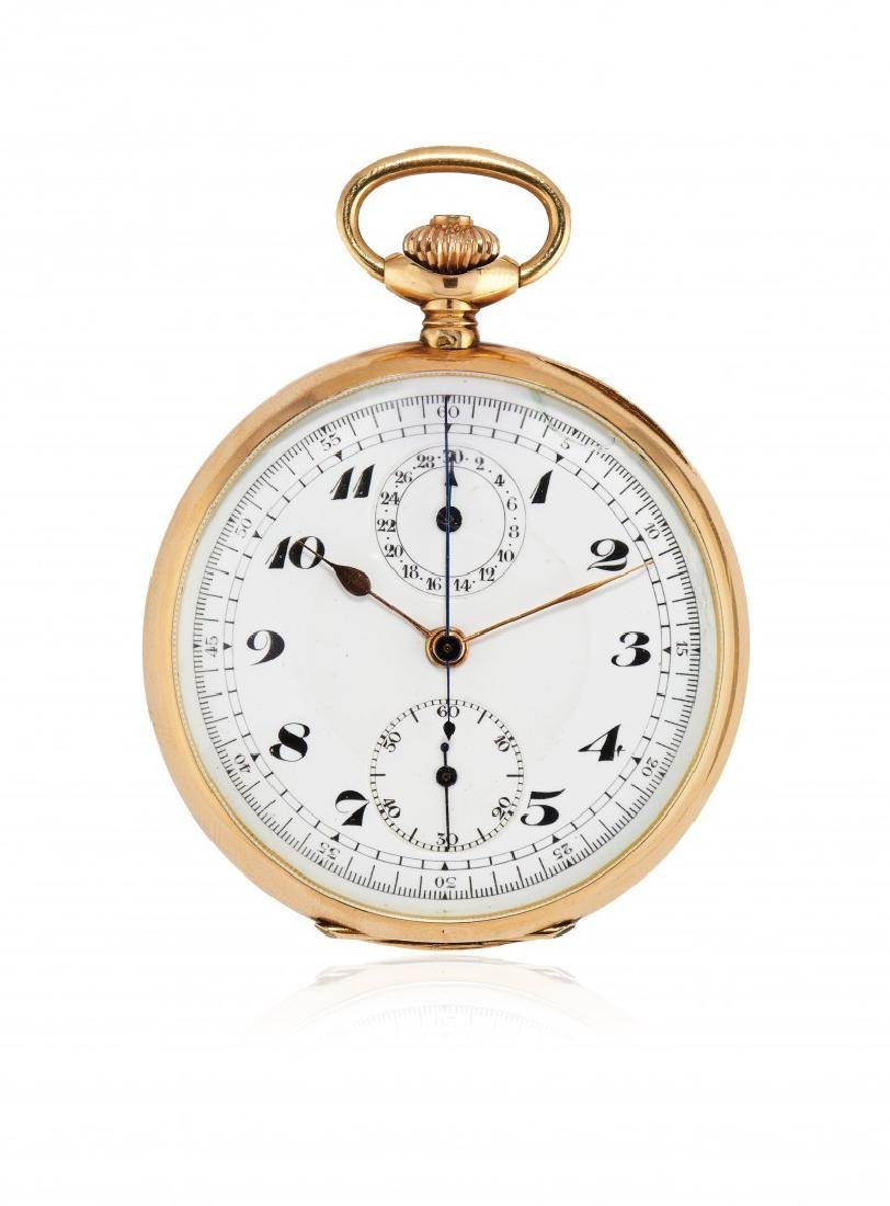 GOLD POCKET WATCH WITH CHRONOGRAPH AND 30-MINUTE
