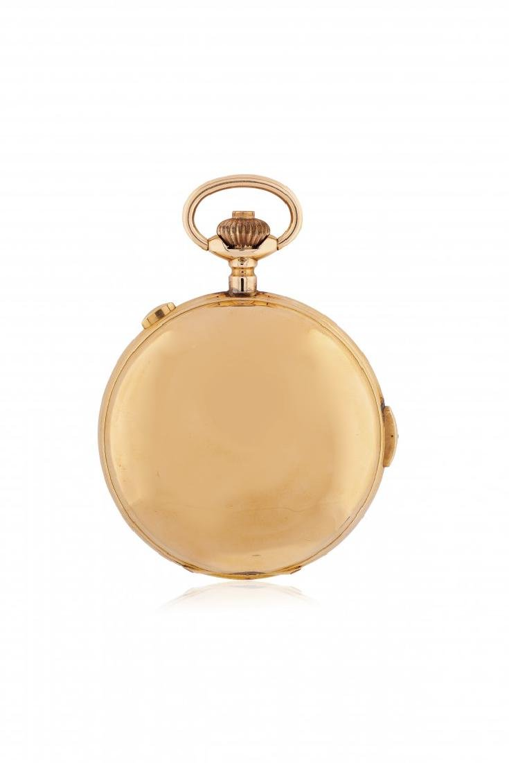 GOLD HUNTER CASE POCKET WATCH WITH CHRONOGRAPH AND