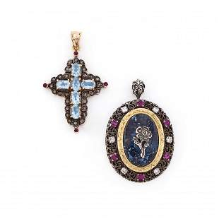 two gold, silver and gem-set pendants