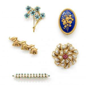 lot of five gold, enamel and gem-set brooches
