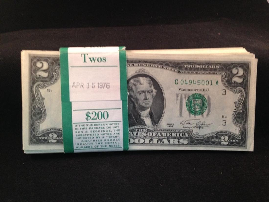 Lot of UNC 1976 $2 Bills (87) Notes