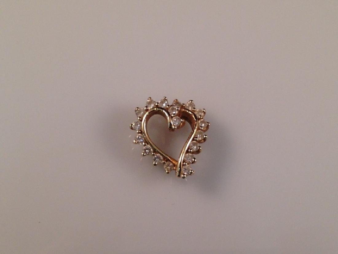 Vintage 14K YG Diamond Heart Pendant.