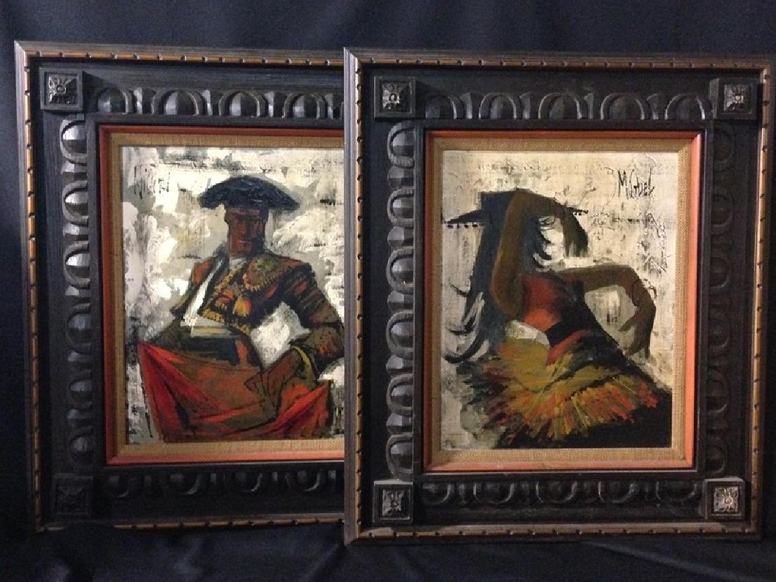 (2) Vintage Spanish Themed Original Oils. MIGUEL.
