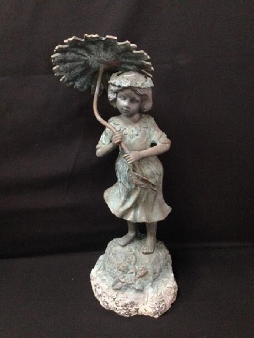 Brass? Fountain head Girl With Flower