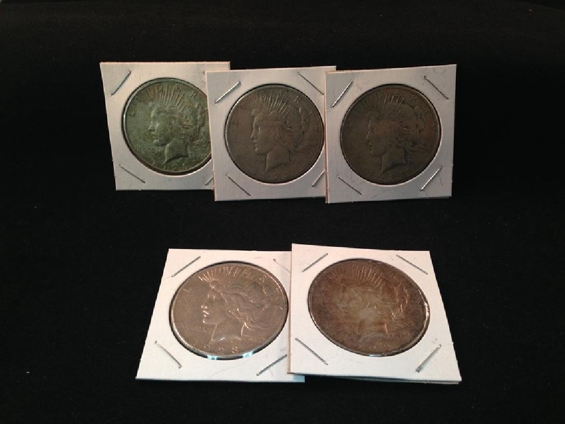Lot of (5) Peace Silver Dollars 90% Silver Coins