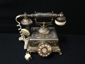 Vintage French Victorian Repro Brass Phone.