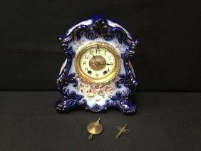 Waterbury Flow Blue Porcelain Clock, No.91.