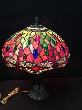 Bronze tone 'Dragonfly' Stained Glass Lamp.