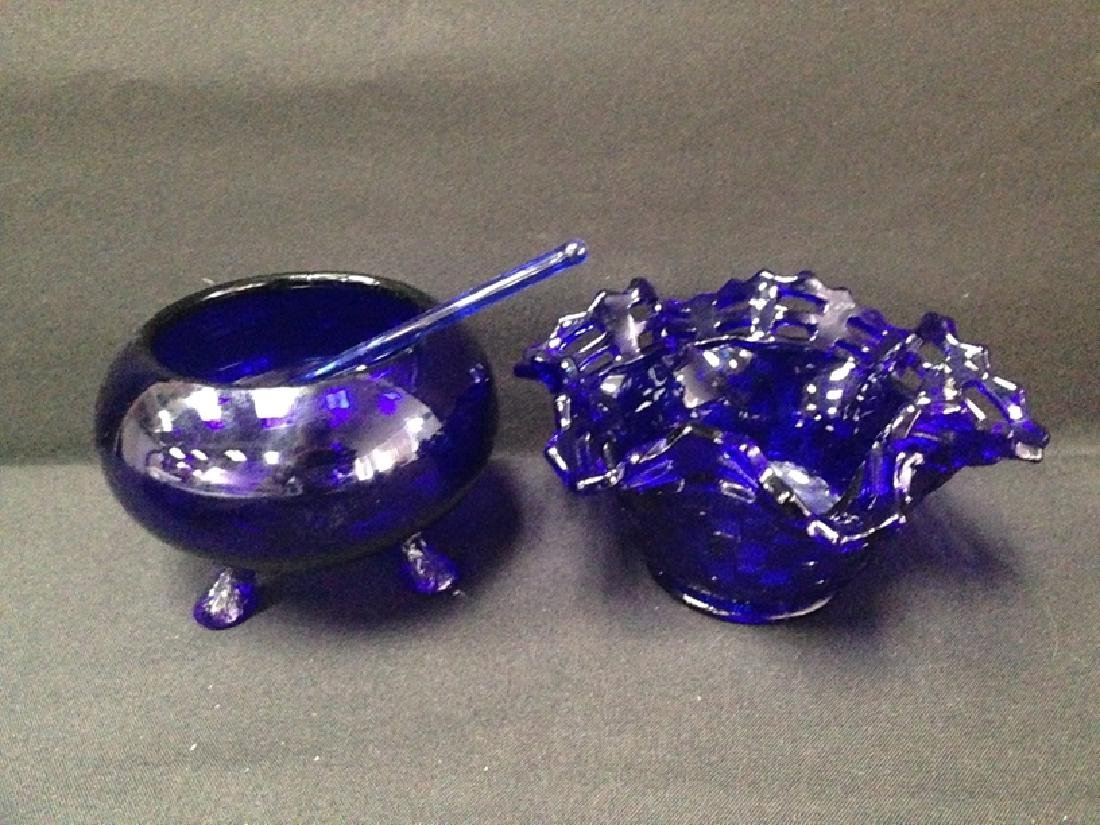 Lot (9) Cobalt Blue Glass Pieces. - 5