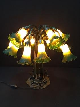 15 'Lily' Light Art Nouveau Stained Glass Lamp.