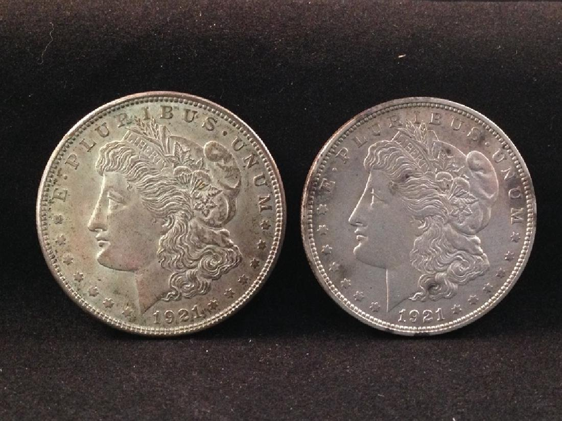 Lot of (2) 1921 Morgan Silver Dollars