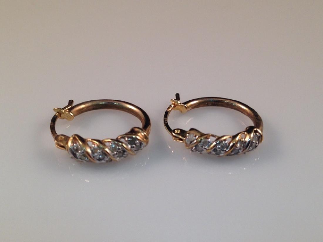 Vintage 14K YG Diamond Hoop Earrings.