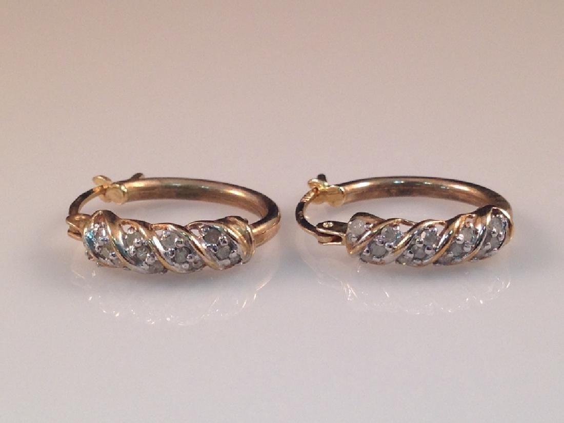 Vintage 14K YG Diamond Hoop Earrings. - 2