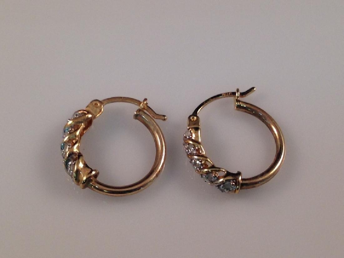 Vintage 14K YG Diamond Hoop Earrings. - 3