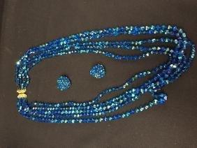 Vintage HOBE Blue AB Crystal Necklace/Earrings.