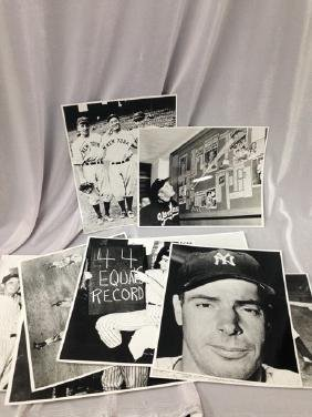 (9) Photos DiMaggio and Mantle NY Yankees