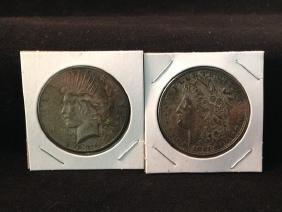 Odd lot of US Silver Dollars Morgan/Peace