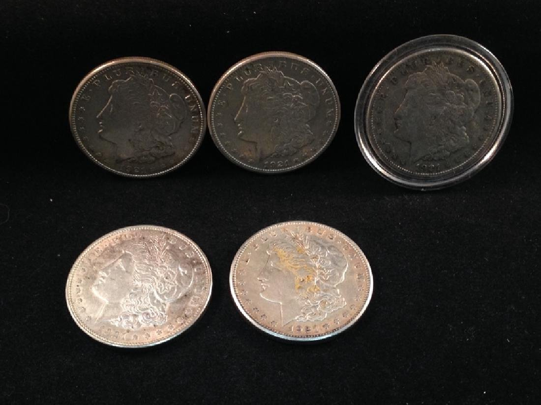 Lot of (5) 1921 Morgan Silver Dollars