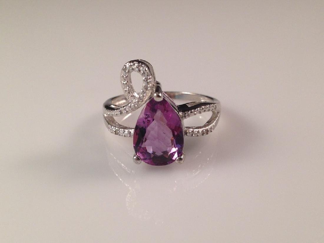 Sterling Silver Amethyst Ring w/Diamonds.