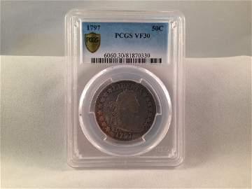 RARE! 1797 Draped Bust Half Dollar in VF30
