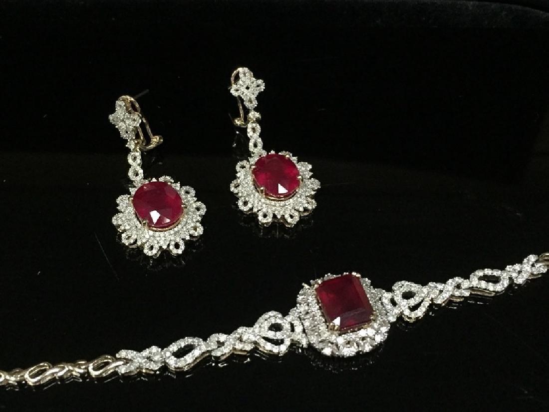 14K YG Ruby and Diamond Earrings & Bracelet.