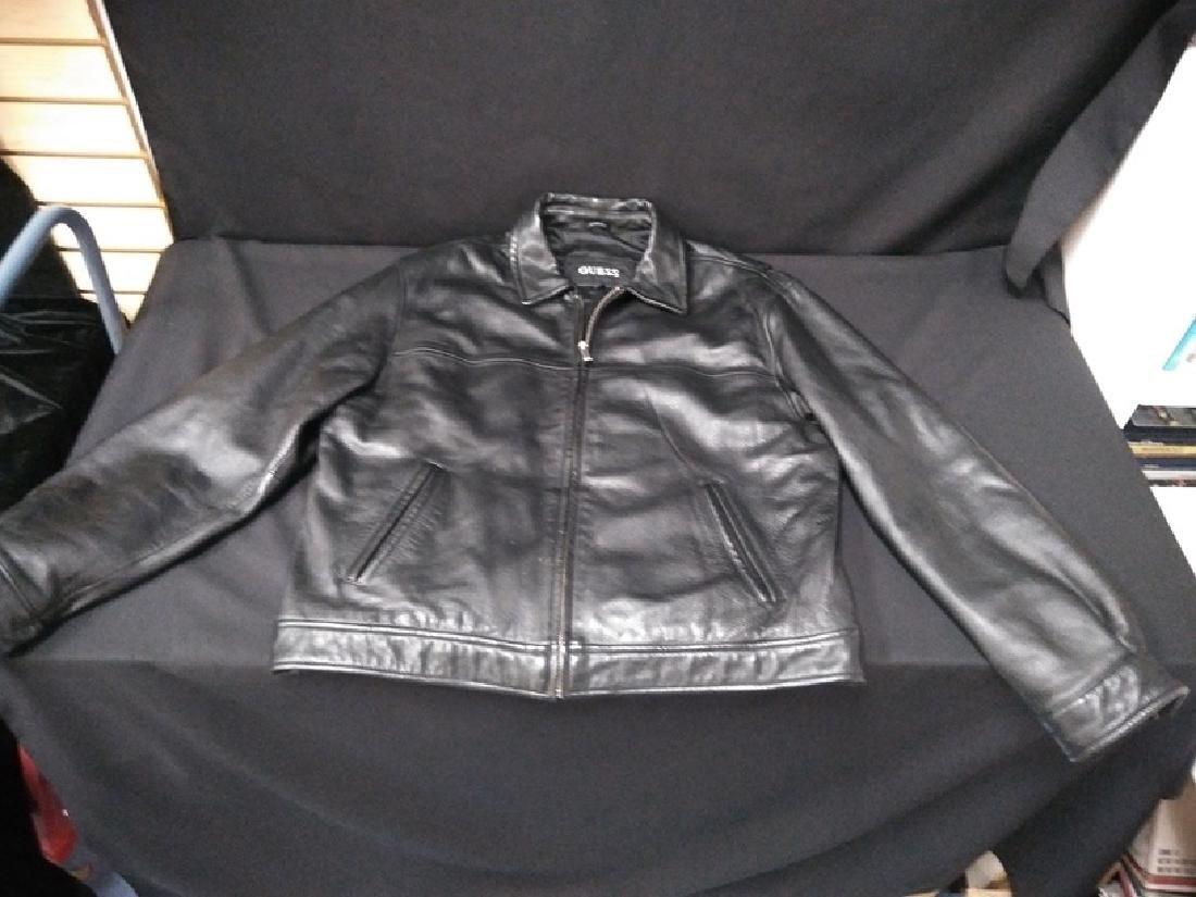Men's GUESS black leather jacket Size Large