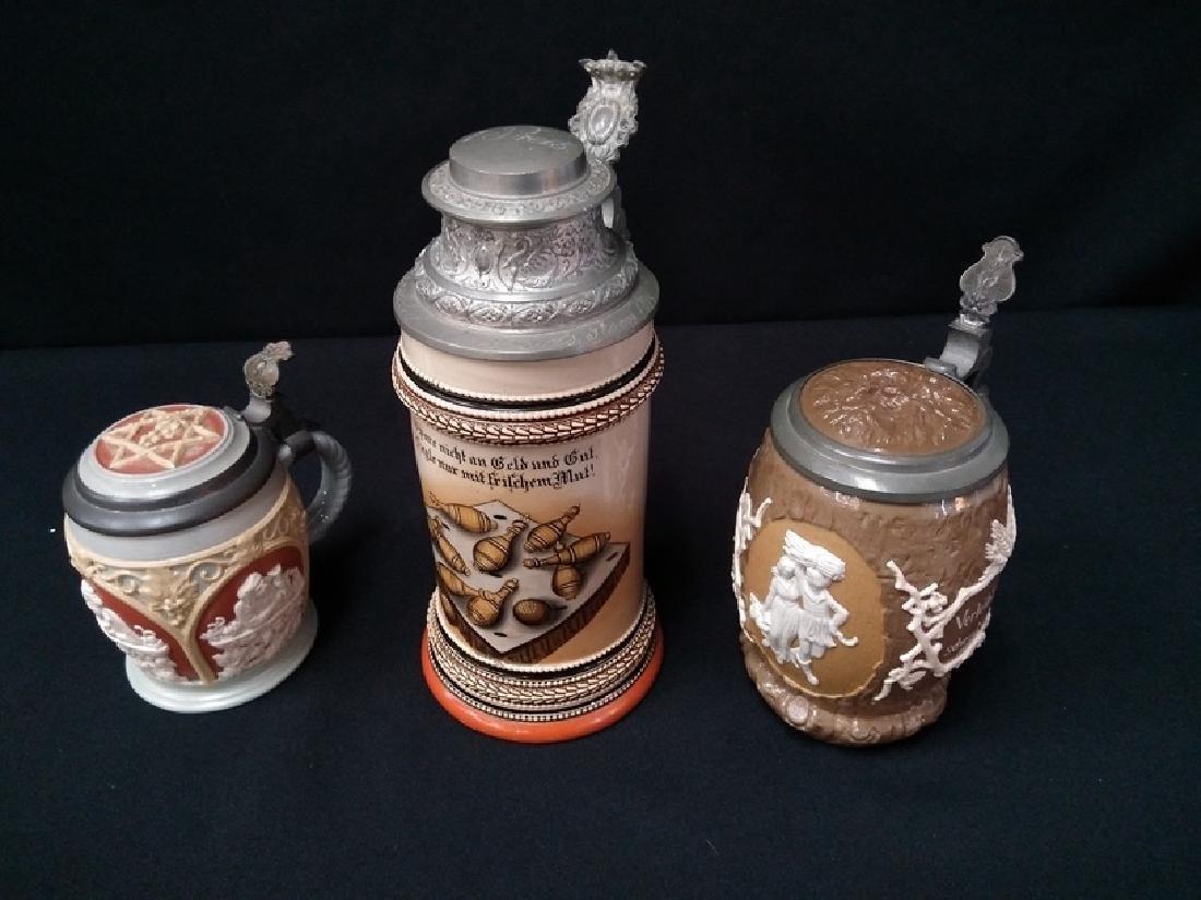 (3) German & Villeroy & Boch lidded beer steins