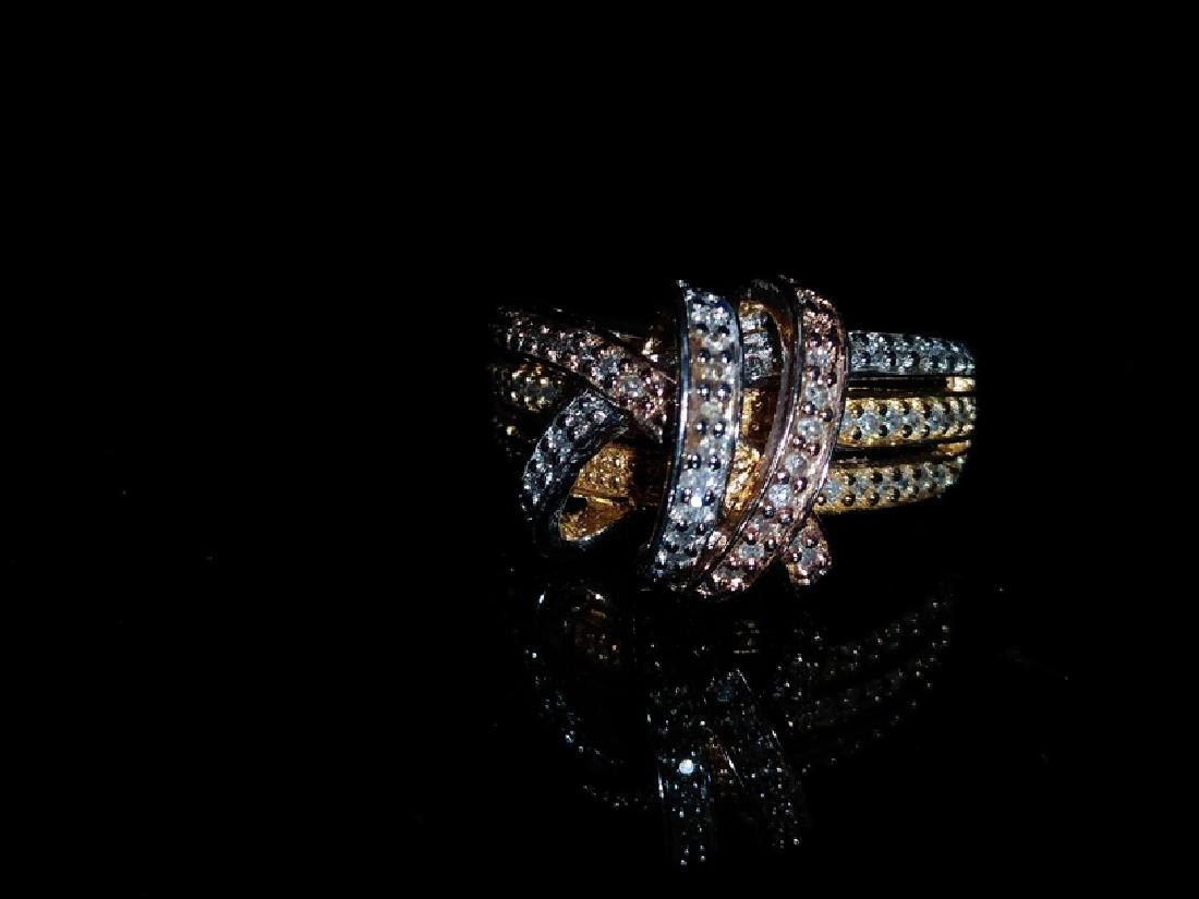 .925 Tri-Color Ring with Diamonds