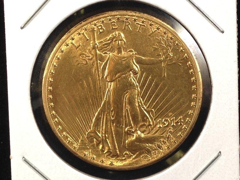 1914 S $20 ST. Gaudens Gold Coin