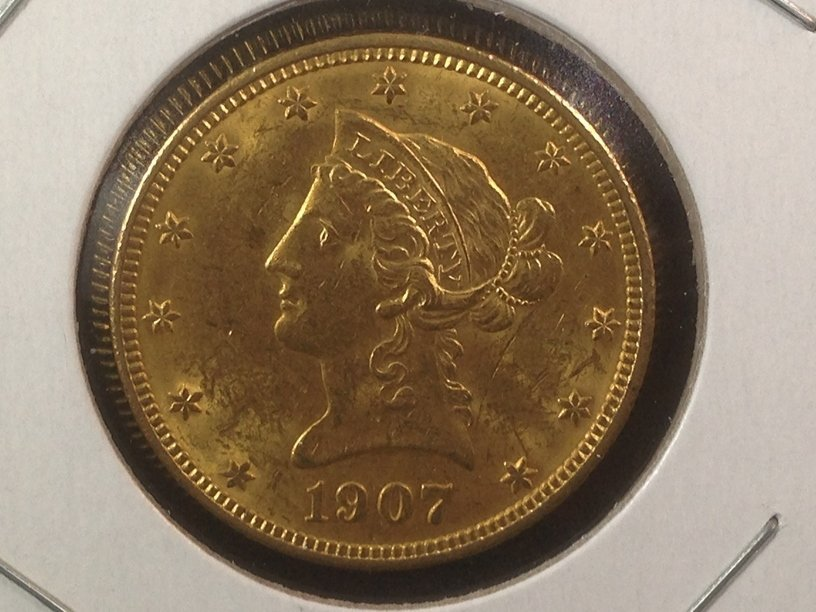 1907 Liberty Head $10 Gold Coin Last Year Issue