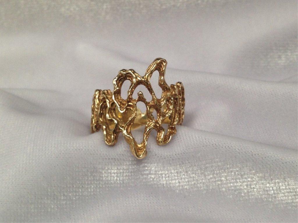 Vintage 14K YG Modern Ring. Size 8-3/4.